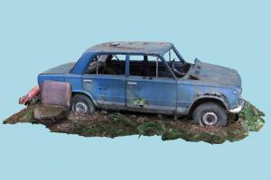 Wrecked Car wrecked, damaged, rusty, destroyed, burned, abandoned, lada, russian, metal, old, ussr, chipped, vaz, 2101, car, kopeika, scanned