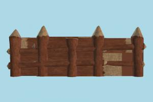 Wooden Fence fence, wooden, railing, wall, lowpoly