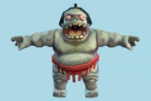 Sumo Zombie sumo, fat, zombie, character, human, cartoon