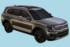 Kia Telluride Car kia, car, vehicle, carriage, transport, suv, 2020, lowpoly, korean