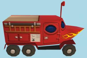 Fireboat SpongeBob, bus, cartoon, car, submarine, vehicle, truck, carriage, boat, fire, low-poly