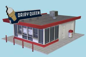 Dairy Queen restaurant, building, mcdonalds, fast-food, fastfood, highway, dinner, breakfast, sandwich, travel, service, public, town, vacation, trip, house, city, street