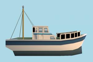 Fishing Boat boat, sailboat, watercraft, ship, vessel, sail, sea, maritime, fishing, lowpoly