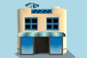 Restaurant Front restaurant, building, build, house, hotel, cartoon, lowpoly, structure