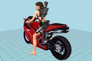Lara-Croft driving Ducati Motorcycle