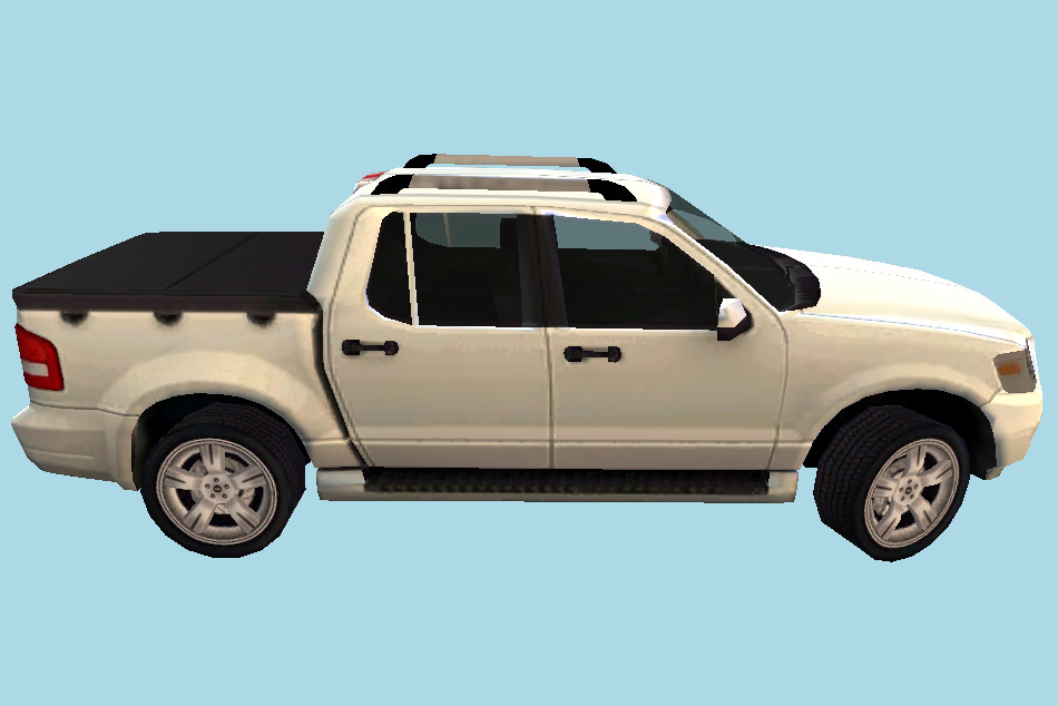White Ford Pickup Car 3d model