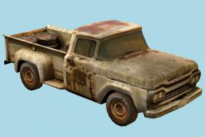 Abandoned Car scanned-models, truck, abandoned, pickup, car, vehicle, carriage, ruin