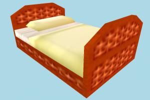 Rattan Bed bed, bedstead, furniture, seat, sofa, room, lowpoly