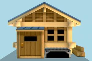 Home Low-poly house, home, building, cartoon, build, residence, domicile, structure, lowpoly