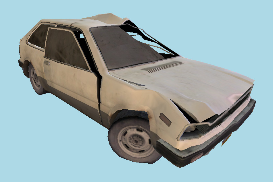 Wrecked Hatchback Car 3d model