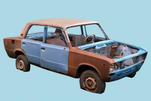 Wrecked Car wrecked, car, abandoned, damaged, destroyed, burned, sedan, saloon, rusty, lada, russian, retopologized, vaz, rudavin, vehicle, scanned