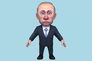 Vladimir Putin caricature, cartoon, business-man, toony, chibi, toy, politician, president, obama, russia, america, lowpoly, man, male, people, human, character