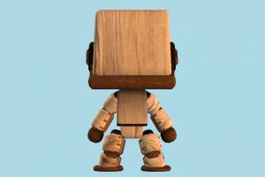 Sackbot robot, wooden, character, cartoon, toy