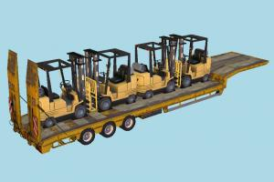 Trailer with Forklifts trailer, forklift, tractor, truck, constructor, vehicle, carriage