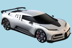 Bugatti Car bugatti, racing, car, vehicle, carriage, transport, french, european, luxury, gt, supercar, coupe, lowpoly, sports, touring