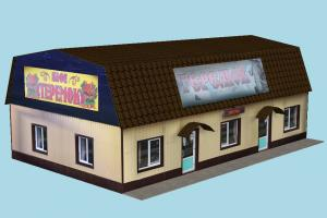 Cafe cafe, store, restaurant, building, build, residence, structure, papertoy, house, lowpoly