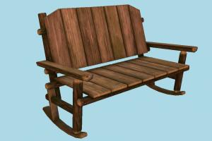 Wooden Bench bench, chair, furniture, decoration, rocking-chair, assets, medieval, wooden, decor, street