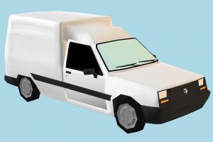 Lowpoly Car car, vehicle, carriage, transport, voiture, life, renault, nova, express, lowpoly