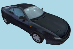 Black Racing Car car, racing, speed, truck, vehicle, transport, carriage, black, low-poly