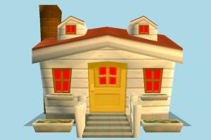 Home Front house, home, building, build, apartment, flat, residence, domicile, front, cartoon, lowpoly, structure