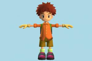 Izzy Izumi Pokemon, Pokémon, Digimon, boy, children, male, people, human, character, cartoon, lowpoly