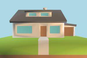 House Low-poly house, home, building, build, apartment, flat, residence, domicile, structure, lowpoly