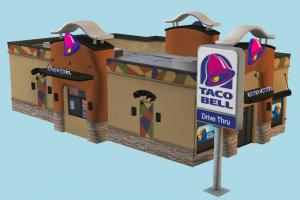 Taco Bell restaurant, building, burger, food, brick, drive, exterior, highway, dinner, breakfast, sandwich, travel, baked, eater, service, billboard, public, bread, town, hamburger, fastfood, vacation, mcdonalds, trip, house, city, street