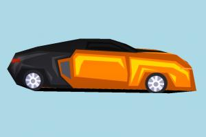 Car Very Low-poly car, truck, vehicle, transport, carriage, toon, low-poly