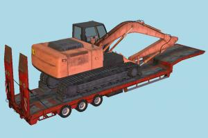 Overweight Trailer tractor, excavator, constructor, trailer, truck, vehicle, carriage