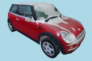 Mini-Cooper Car mini-car, Mini-Cooper, car, truck, vehicle, transport, carriage, red, snow, ice, cold, low-poly
