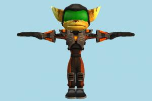 Ratchet and Clank animal-character, character, fox, cartoon, human, toony