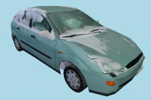 Car Dirty with Ice car, truck, vehicle, transport, carriage, dirty, ice, snow, cyan, low-poly