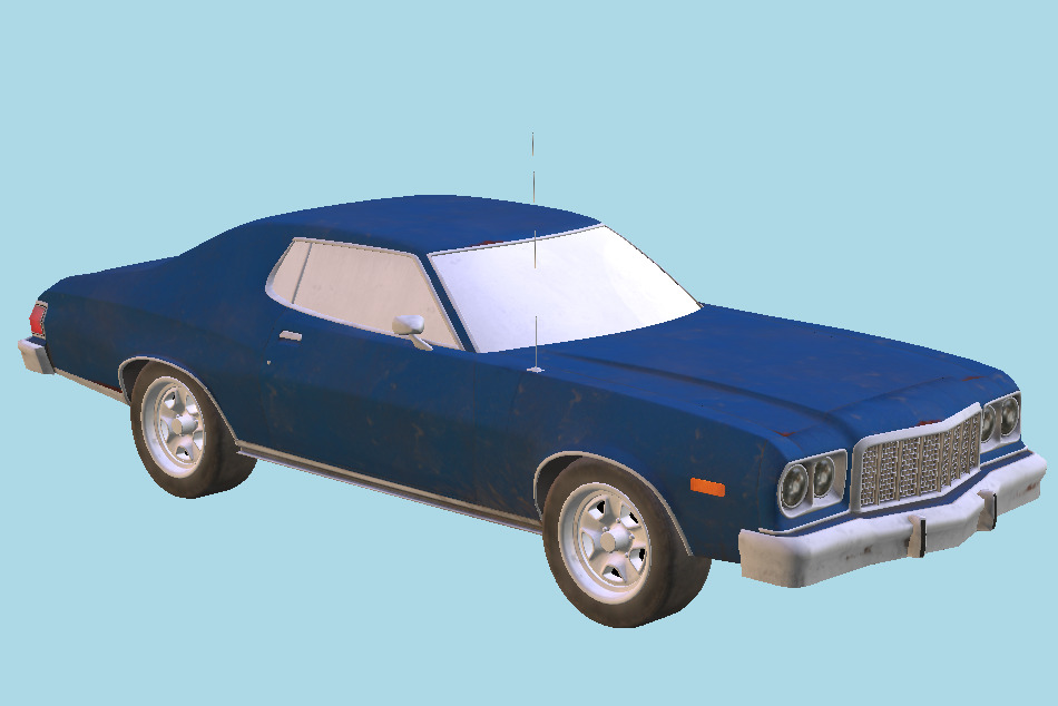 Old Classic Car Lowpoly 3d model