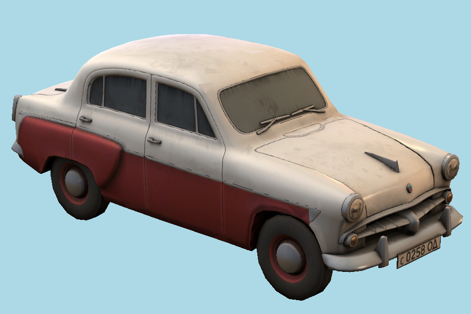 Moskvitch 402 Beetle Car 3d model