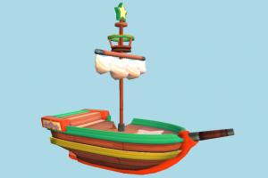 Boat pirate-ship, boat, sailboat, ship, watercraft, vessel, wooden, maritime, broken, damaged, cartoon