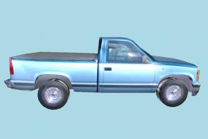 Pickup Car Low-poly pickup, car, truck, vehicle, transport, carriage