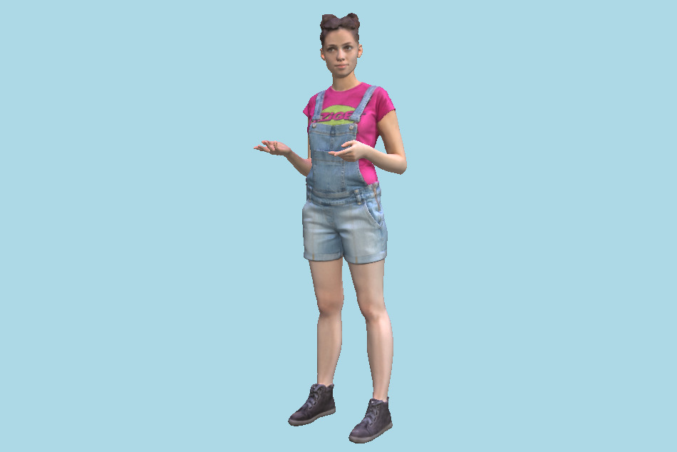 Fitness Young Girl in Denim is Posing 103 3d model
