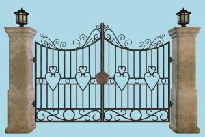 Gate gate, door, fence, wall, high-poly