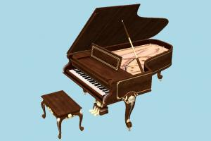 Old Grand Piano piano, music, victorian, grand, musical, vintage, retro, antique, classic, furniture, elegant, grandpiano, musical-instrument