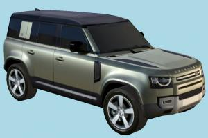 Land Rover Car land-rover, landrover, car, vehicle, carriage, transport, suv, european, 4wd, 4x4, 2020, off-road, lowpoly, four-weel-drive, l663