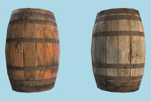 Wooden Barrel barrel, crate, crates, wooden, box, object, lowpoly