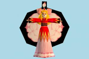 Kitty Lily girl, woman, female, people, character, cartoon, lowpoly