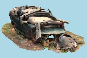 Car Wreck wrecked, damaged, ruined, rusty, destroyed, burned, abandoned, bumper, old, derelict, car, scanned