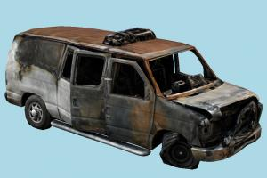 Burned Van scanned-models, van, ruined, damaged, car, vehicle, carriage, ruins, post-apocalyptic, fire, destroyed, burnt, burned, abandoned, old, derelict