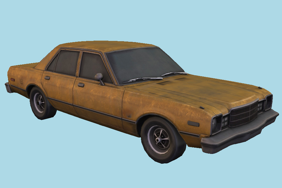 1977 Plymouth Volaire Sedan Old Car 3d model