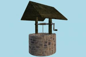 Well well, waterwheel, water, bucket, country, farm, structure