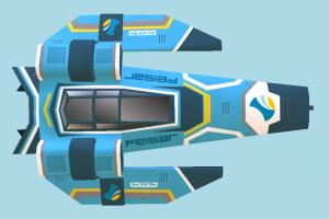 Spaceship spaceship, spacecraft, space, ship, craft, aircraft, airplane, plane, air, vessel, cartoon, lowpoly