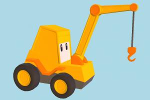 Toy Crane toy, crane, cartoon, bulldozer, tractor, truck, vehicle, construction, industrial