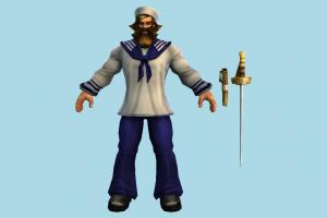 Gangplank Sailor sailor, seaman, captain, man, male, people, human, popeye, character