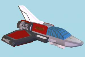 Spaceship shuttle, spaceship, spacecraft, space, ship, craft, aircraft, airplane, plane, air, vessel, lowpoly